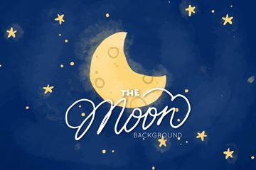 彩绘夜晚天空月牙矢量素材