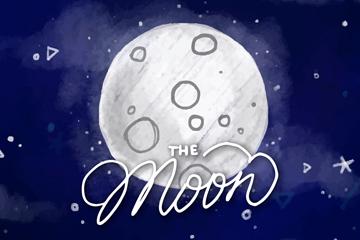 创意夜空月球风景矢量素材