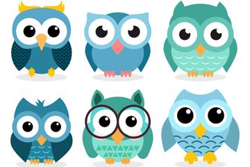 6款蓝色猫头鹰设计矢量图