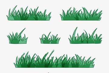 7款绿色彩绘草丛矢量素材