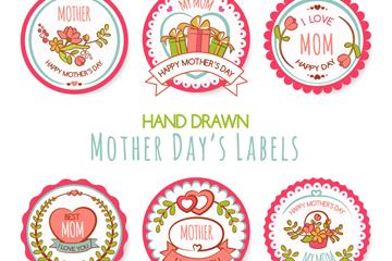 6款手绘母亲节标签矢量素材