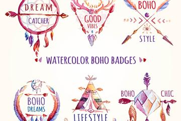 6款水彩绘波西米亚风徽章矢量图