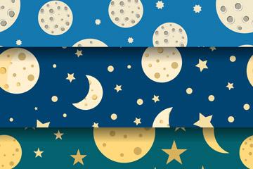 3款创意月球无缝背景矢量素材