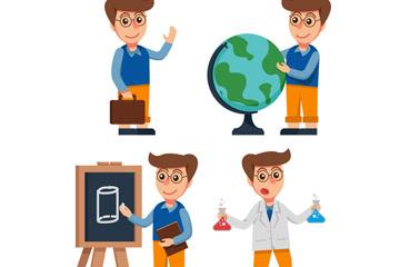 创意男孩4种学习场景矢量素材