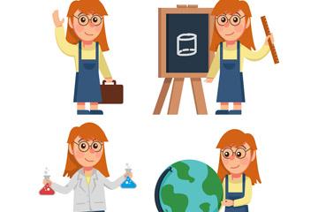 创意女孩4种学习场景矢量素材