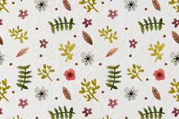 水彩绘树叶和花朵无缝背景矢量图