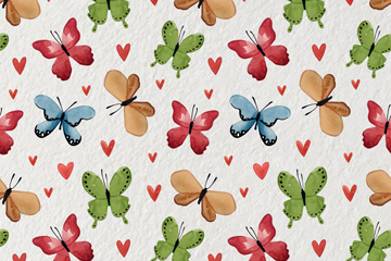 水彩绘蝴蝶和爱心无缝背景矢量图