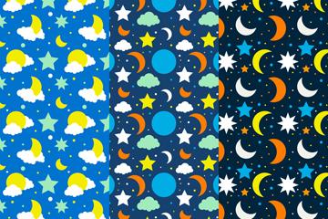3款彩色月亮和星星无缝背景矢量