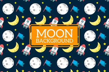 创意月球和火箭无缝背景矢量图