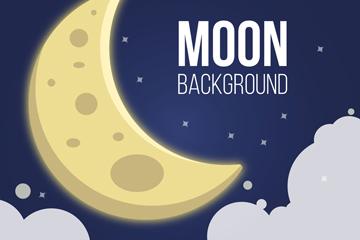 卡通云上的月亮矢量素材