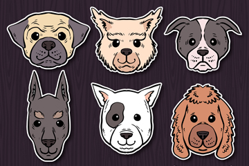 9款手绘宠物狗头像矢量素材