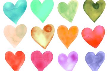 12款水彩绘爱心矢量素材