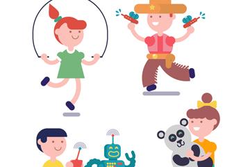 4款动感玩耍的儿童矢量素材