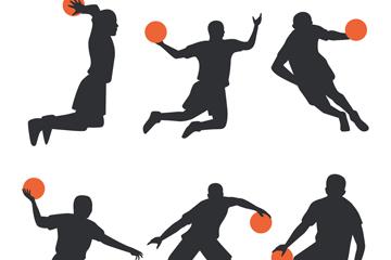 6款创意动感篮球男子剪影矢量图