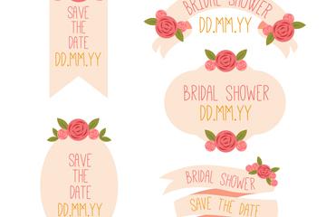 5款红色玫瑰花婚礼标签矢量素材