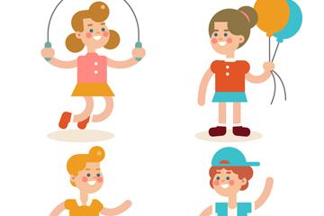 4款创意快乐玩耍儿童矢量图