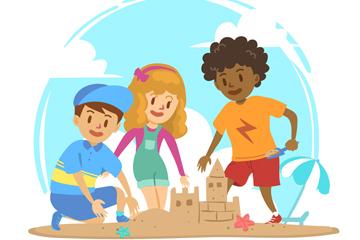 创意玩沙滩城堡的3个儿童矢量图