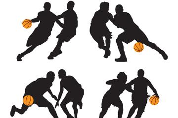 4组创意篮球运动人物剪影矢量图
