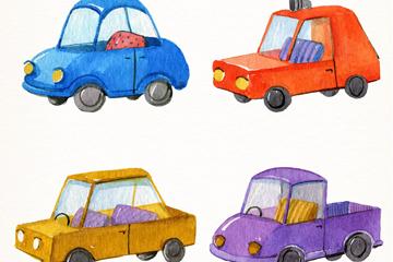 4款水彩绘车辆设计矢量素材