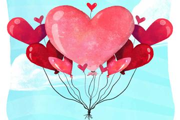 水彩绘爱心气球束矢量素材