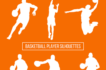 6款白色篮球男子剪影矢量素材
