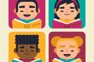 4款可爱读书儿童矢量素材