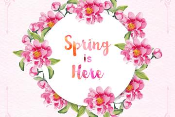 水彩绘春季花环设计矢量素材