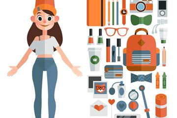 创意扁平化女孩和33款常用物品矢