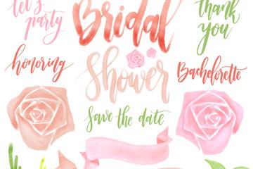 6款水彩绘婚礼艺术字和7款花卉装