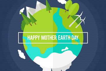 扁平化世界地球日地球设计矢量图