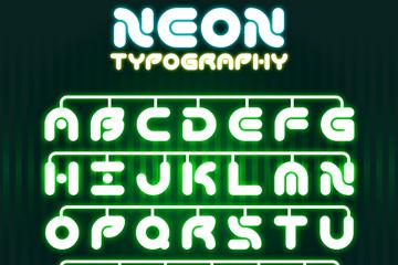 26个绿色霓虹灯字母和2个符号矢