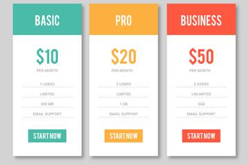 扁平化彩色网页价目表矢量素材