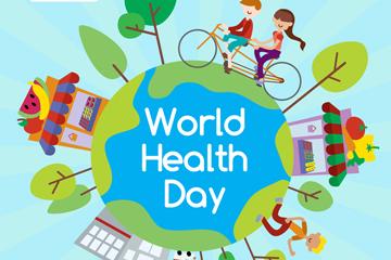扁平化世界健康日地球矢量素材