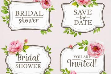 4款粉色牡丹花新娘送礼会标签矢量图