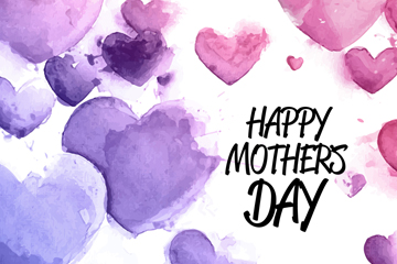 水彩绘母亲节爱心贺卡矢量素材