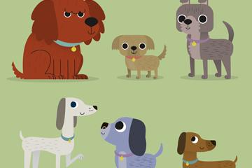 6款可爱宠物狗设计矢量图