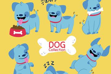6款蓝色宠物狗矢量素材