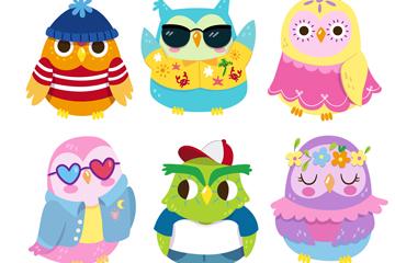 6款创意装扮可爱的猫头鹰矢量素材