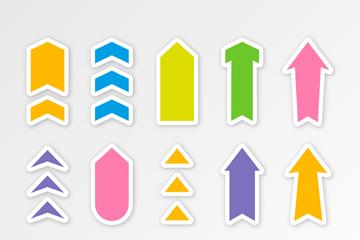 15款彩色箭头贴纸矢量素材