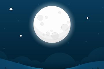 卡通皎洁月亮矢量素材