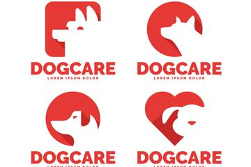 4款红色宠物狗标志矢量图