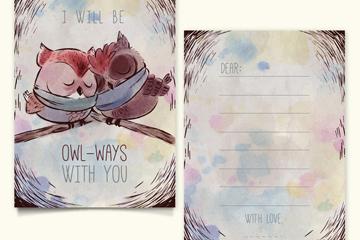水彩绘冬季猫头鹰情侣卡片矢量图