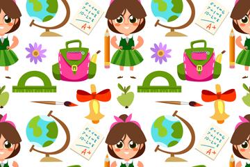 卡通女孩和学习用品无缝背景矢量图