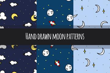 3款手绘月亮无缝背景矢量素材