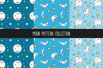 3款彩绘月亮和星星无缝背景矢量图