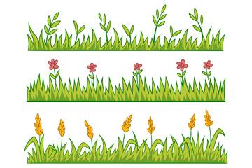4款绿色彩绘花丛矢量素材