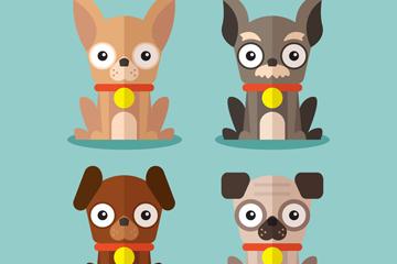 4款扁平化宠物狗设计矢量图