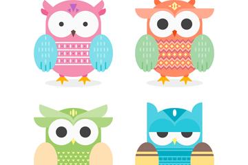 4款可爱猫头鹰设计矢量素材