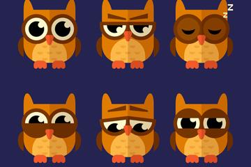 6款扁平化猫头鹰设计矢量图