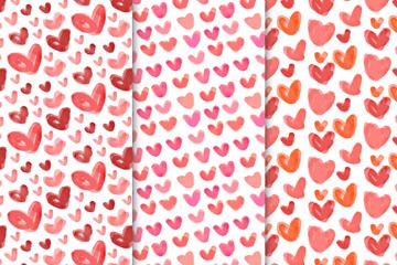 3款红色水彩绘爱心无缝背景矢量图
